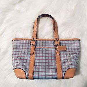 EUC ❤️ Coach Preppy Leather Trimmed Mini Tote❤️